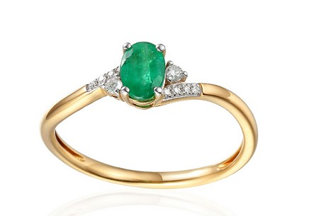 Gold Engagement Ring with Emerald and Diamonds 0.050 ct Melinda 2