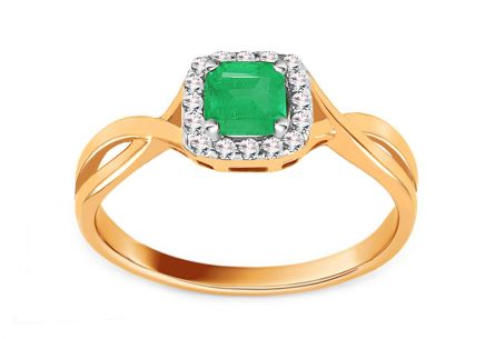 Gold Engagement Ring with Emerald and Diamonds 0.070 ct Cailey 2