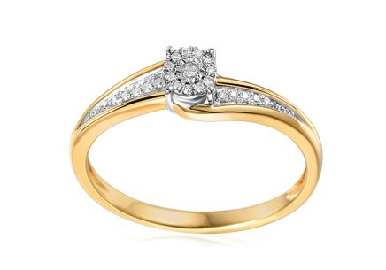Gold engagement ring with Lotte diamonds 0.070 ct