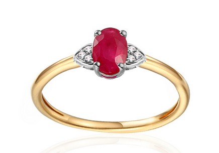 Gold Engagement Ring with Ruby and Diamonds 0.020 ct Chattie 3