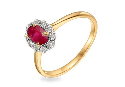 Gold Engagement Ring with Ruby and Diamonds 0.040 ct Hallie 3
