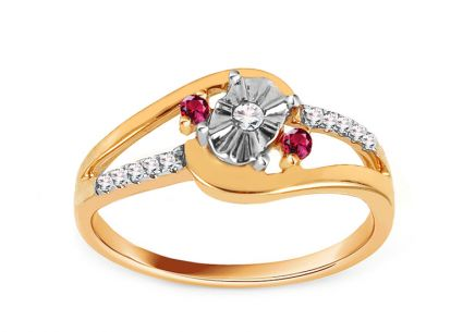 Gold Engagement Ring with Ruby and Diamonds 0.070 ct Sanai