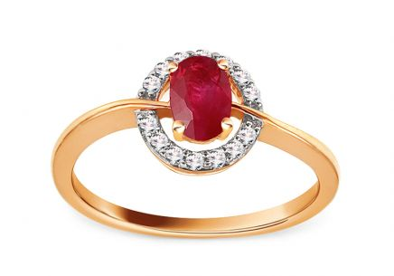 Gold Engagement Ring with Ruby and Diamonds 0.120 ct Brienne 8