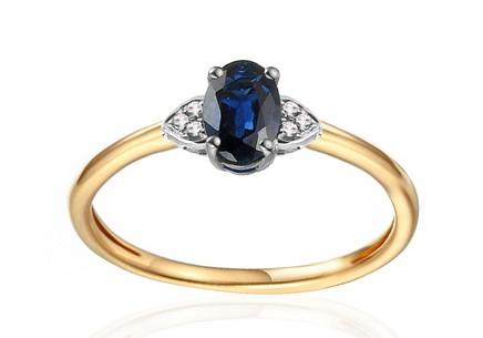 Gold Engagement Ring with Sapphire and Diamonds 0.020 ct Chattie
