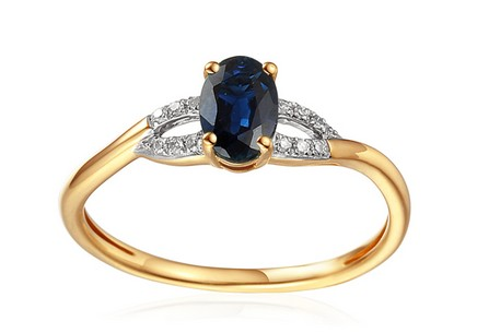 Gold Engagement Ring with Sapphire and Diamonds 0.030 ct Kassia