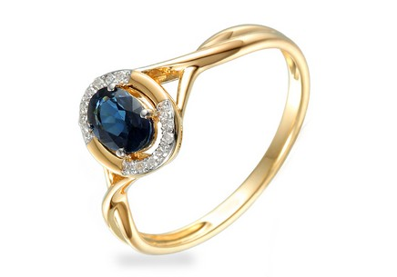Gold Engagement Ring with Sapphire and Diamonds 0.050 ct Kesidy