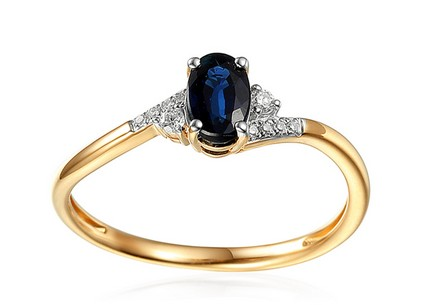 Gold Engagement Ring with Sapphire and Diamonds 0.050 ct Melinda