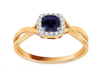Gold Engagement Ring with Sapphire and Diamonds 0.070 ct Cailey