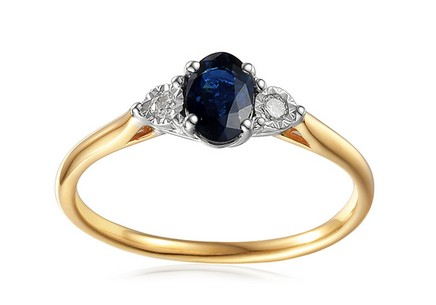 Gold Engagement Ring with Sapphire and Diamonds 0.080 ct Stenya