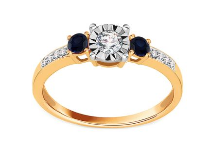 Gold Engagement Ring with Sapphire and Diamonds 0.150 ct Calix