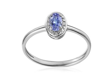 Gold Engagement Ring with Tanzanite and Diamonds 0.010 ct Fanny