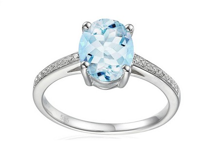 Gold Ring with Aquamarine and Diamonds Riva