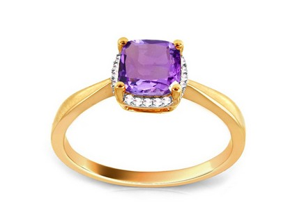 Gold Ring with Brilliants and Amethyst
