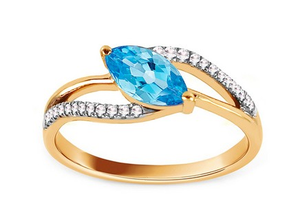 Gold Ring with Diamonds 0.100 ct and Topaz Laryn