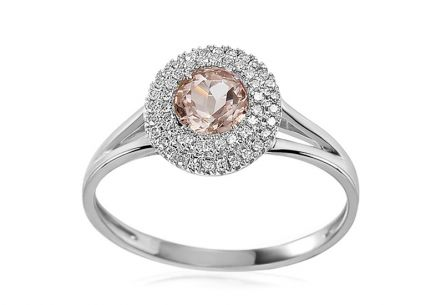 Gold ring with morganite and 0.110 ct diamonds