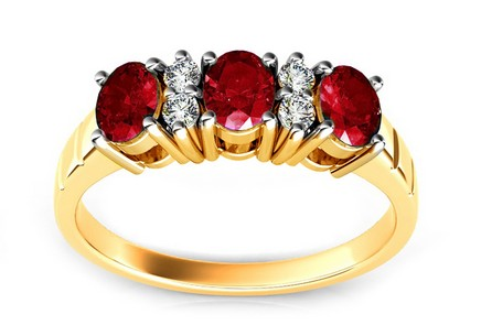 Gold Ring with Ruby and Diamonds Meddy