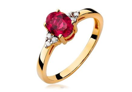 Gold Ring with Ruby and Diamonds Morgana