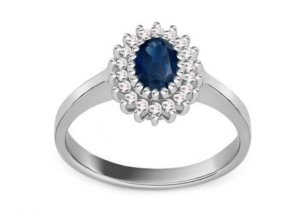 Gold Ring with Sapphire and Diamonds Layana