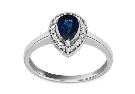 Gold Ring with Sapphire and Diamonds Valora