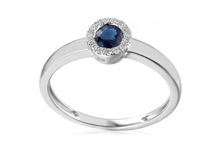 Gold ring with sapphire and Saphira diamonds 0.060 ct