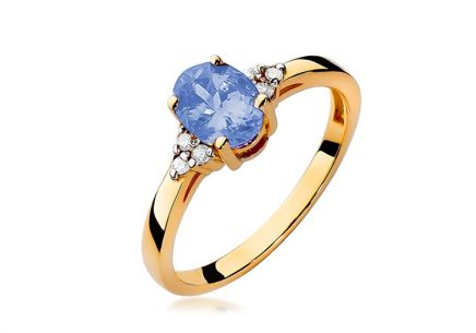 Gold ring with tanzanite and diamonds Aurea 0.050 ct