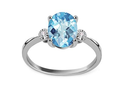 Gold Ring with Topaz and Diamonds Meadow 0.020 ct
