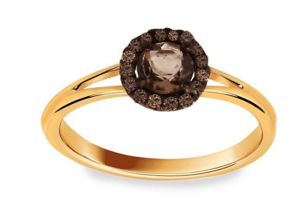"Golden Engagement Ring with Quartzite and Diamonds 0.100 ct ""Brown Dream"""