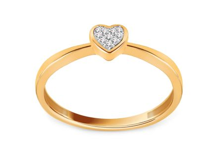 Heart Shaped Gold Engagement Ring with Diamonds 0.020 ct