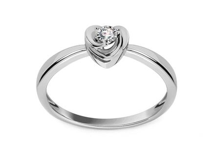Heart Shaped White Gold Engagement Ring with Diamond 0.030 ct Marisa 2