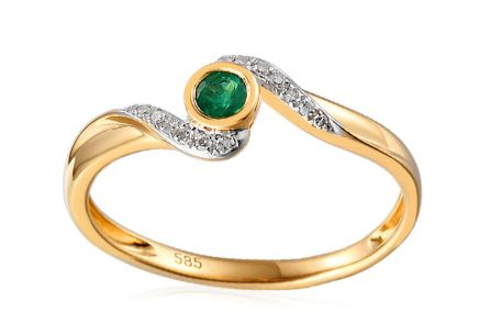 Ring with 0.050 ct diamonds and emerald