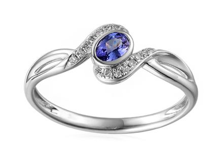 Ring with Brilliants 0,050 ct and Tanzanite