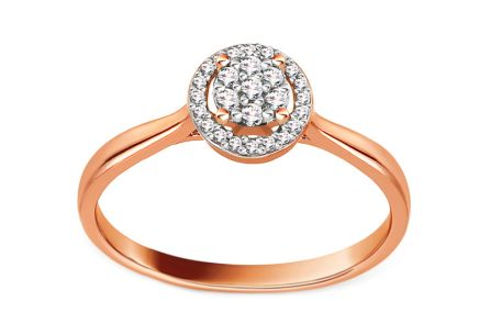 Rose Gold Engagement Ring with Diamonds 0.100 ct Peona