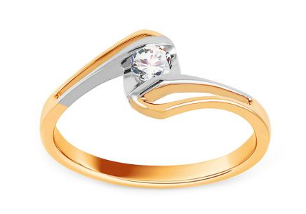 Two-tone Engagement Ring with Diamond 0,150 ct Adelie