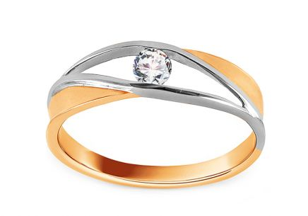 Two Tone Gold Diamond Ring 0.160 ct