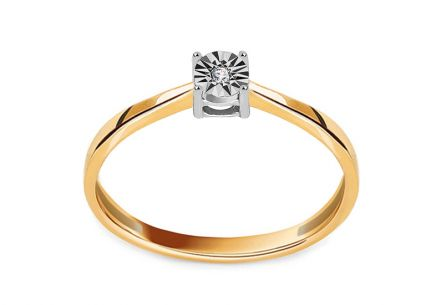 "Two-Tone Gold Engagement Ring with Diamond 0.010 ct ""Aclarado 16"""