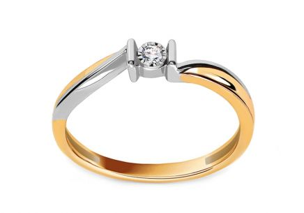 "Two-Tone Gold Engagement Ring with Diamond 0.020 ct ""Sheila 2"""