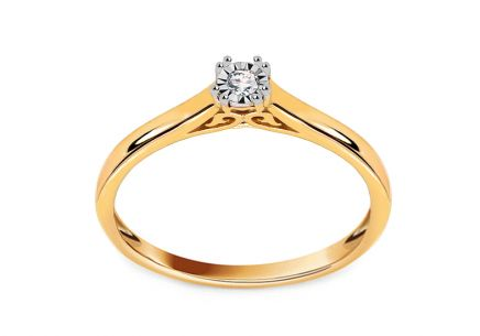 "Two-Tone Gold Engagement Ring with Diamond 0.040 ct ""Penney"""