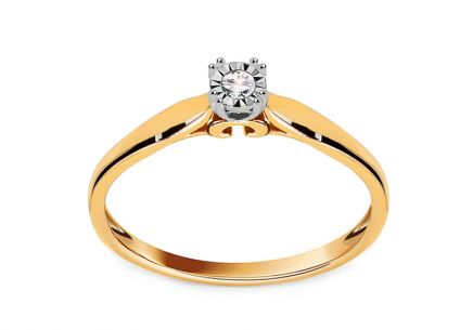 "Two-Tone Gold Engagement Ring with Diamond 0.040 ct ""Rorry"""