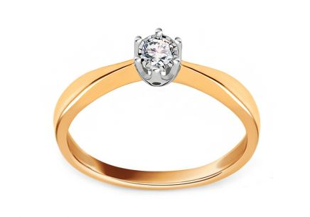 Two Tone Gold Engagement Ring with Diamond 0.050 ct