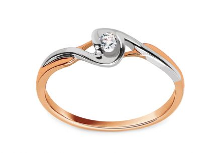 "Two-Tone Gold Engagement Ring with Diamond 0.050 ct ""Etos 2"""