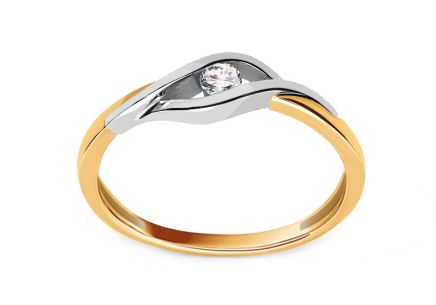 "Two-Tone Gold Engagement Ring with Diamond 0.060 ct ""Suzzi"""