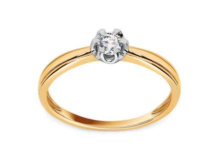 "Two-Tone Gold Engagement Ring with Diamond 0.100 ct ""Felipa"""