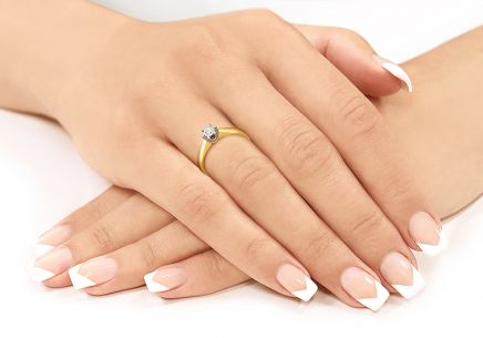 "Two-Tone Gold Engagement Ring with Diamond 0.170 ct ""Nela middle"""