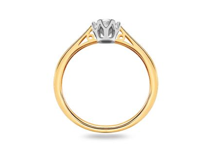 Two Tone Gold Engagement Ring with Diamond 0.250 ct