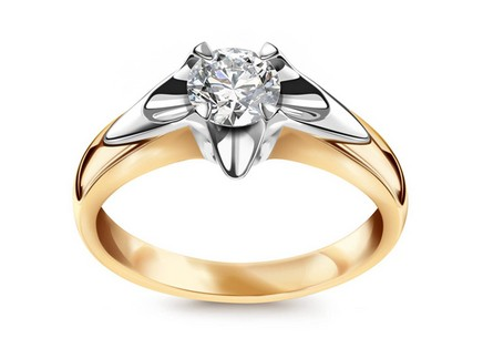 "Two-Tone Gold Engagement Ring with Diamond 0.500 ct ""Always big"""