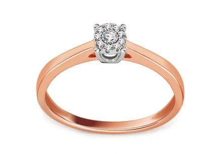 White and Rose Gold Engagement Ring with Brilliants 0.040 ct