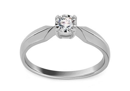 White Gold and Diamond Engagement Ring 0.090 ct