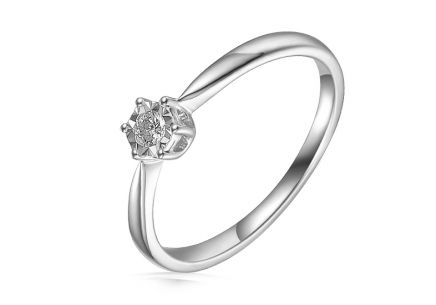 White gold diamond Engagement ring 0.090 ct