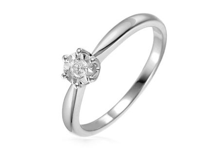 White gold diamond Engagement ring 0.100 ct