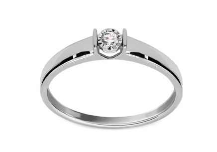 White gold engagement ring with 0.050 ct Betsey diamond